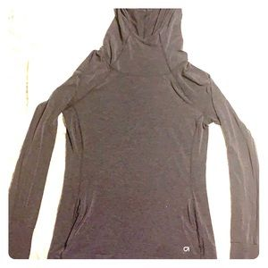 Gap Fit Breathable Workout Hoodie - charcoal gray